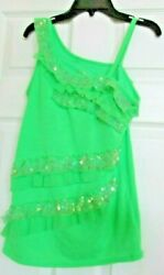 Justice One Shoulder Girls Blouse Size 16 Green and Sparkle Ruffles $9.99