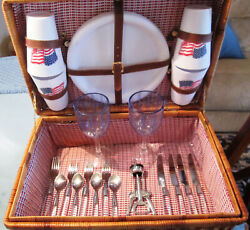 Wicker Picnic Basket With Dishes And Accessories