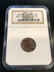 1964 Lincoln Cent Penny Huge Obverse Lamination Mint Error Coin Ngc Ms62bn Rare
