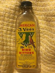 American 3 Vees Bird Bitters Collectible Bottle Retro Vintage Chicago