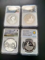 Total 4 Mixed Silver Coins 3 W/ngc Pf70 1 W/ngc Gem Pf See Photos For Details