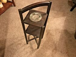 Art Deco Mission Craft Wood Smoking Stand With Handle Ashtray All Original