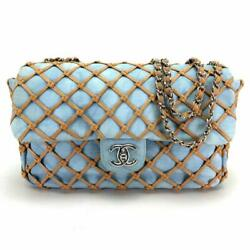 CHANEL CC Matrasse 30 Blue Denim Chain Shoulder Bag Used Rare Design Ex++