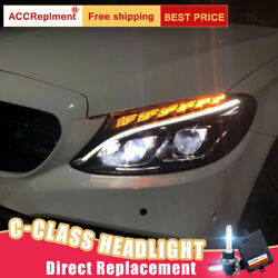 For Benz C-class W205 Headlights Assembly All Led Lens Projector Led Drl 15-20