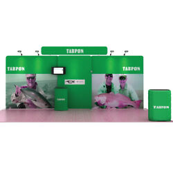 20ft Portable Fabric Trade Show Display Booth Expo Kits With Lights Counter