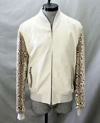 Large Men's Lambskin Leather Jacket With Python Sleeves And Trim