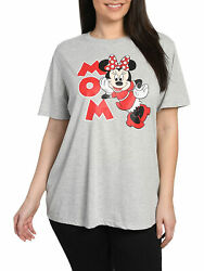 Disney Women#x27;s Plus Size Minnie Mouse Mom T Shirt Short Sleeve Gray Red $18.95