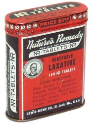 Antique Nature's Remedy Nr Tablets Vegetable Laxative Pill Advertising Tin Can