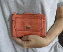 FOSSIL EMORY MULTIFUNCTION Orange pink Leather TriFold Wallet $18.95