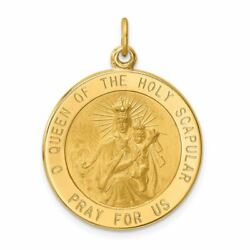 14k Yellow Gold Solid Satin Queen Of Holy Scapular Reversible Medal Pendant