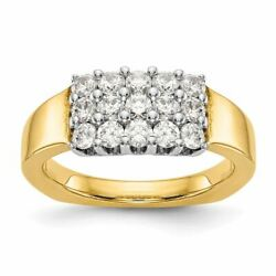 14k Two Tone Gold Diamond Wedding Band Ring, Size 7 0.95ctw Msrp 2766