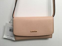 CALVIN KLEIN $148 SAFFIANO LEATHER WALLET WITH REMOVABLE TRAPS~PINK~NWT