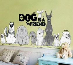 Dog Is A Friend Wall Stickers Home Decor Living Room Kids Rooms Cartoon Animals