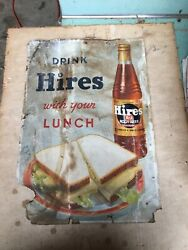 Vintage Drink Hires Root Beer Cardboard Sign 16 Inches Tall X 11 Inches Wide