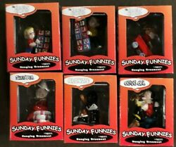 Lot Of 6 - Sunday Funnies Porcelain Christmas Ornament Popeye Family Circus