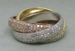 3.13ct Solid 14k 3tone Gold Very Sparkly Natural Diamond Weiing Gimmal Band Ring