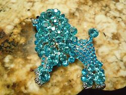 Mid Century Modern Silver Tone Blue Graduated Crystal Poodle Brooch Pin