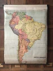 Antique South America School Map Map Of South America Pull Down School Map