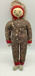 """Antique Native American Indian Alaskan Inuit Doll Real Hide Leather Hands 13"""""""