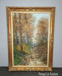 Vintage Oil On Canvas Walking Through Forest Scene From Belgium Signed