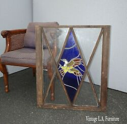 Vintage French Country Blue Leaded Stained Glass W An Eagle Window Wall Decor