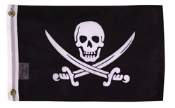 PringCor Pirate Jack Rackham Banner Flag 12quot;x18quot; Boat Dorm Cave Nautical Skull
