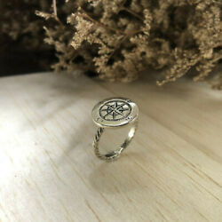 Compass Ring Sterling Silver Nautical Women Mother Statement Gift Masonic Anchor
