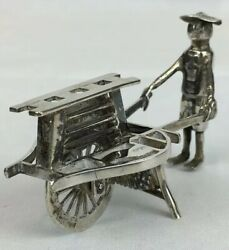 Antique Solid Silver Chinese Export Flower Seller And Cart 7cm In Length