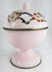 Antique Japanese Cloisonne Rare Pink Enamel Covered Candy Dish Ando