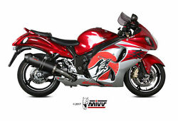 Mivv Exhaust For Suzuki Gsx-r 1300 Hayabusa 2008 2017 Oval Carbon Carby 2 Sil