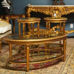 French Louis Xvi Style Coffee And 2 Side Tables Set Gilded Mahogany With Glass Top