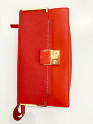 Designer Lavin Paris Red Leather Used Once Authentic Women's Clutch Bag $487.13