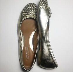 Sperrys Maya Top Sider Gold Bow Shoes Womens Flats 7 Leather