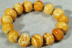 First Class Antique Baltic Marble Yellow White Color Natural Amber Bracelet 35 G
