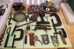 70 Old Hand Tools For Measuring And Hand Work -great Ex. Primitive Shape One Price