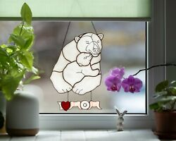 Mothers Day Gift Polar Bear Suncatcher Stained Glass Window Hangings I Love Mom