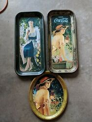Coca Cola Vintage Collectibles Lot Of 3 Mini Tin Oval And Rectangle Trays