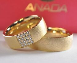 Brands Wedding Rings Gold 585 - With Diamonds Total 02ct Width 7mm - Ice Matte
