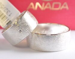 585 Gold - White - Wedding Rings - Ice Matte - 9mm Wide - With Diamond 001ct