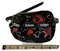 LeSportsac Hearts Design Cosmetic Pouch Accessory Pouch Travel Great Condition
