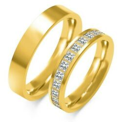 1 Pair Wedding Rings Gold 333 Or 585 With Zirconia - Width 45mm