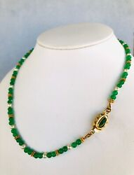 """Necklace Emerald Beads, Pearls, Vermeil And Chrome Diopside Clasp 17"""" Long"""