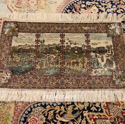 Yilong 1.3'x2' 1000L Four Seasons Top Rug Tapestry Hand-knotted Silk Carpets W79