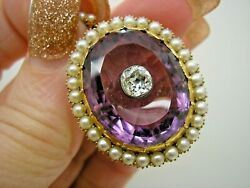 Antique 18ct Gold Real Pearl And Diamond Amethyst Pendant 0.9 Ct Old Cut Diamond