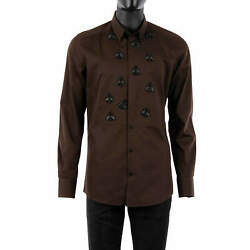 Dolce And Gabbana Gold Tuxedo Silk Cotton Bee Embroidery Shirt Brown Black 08519