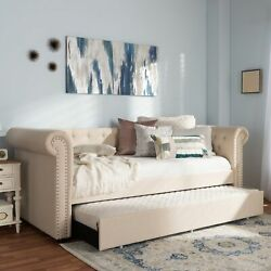 Mabelle Button-tufted Beige Rolled Arms Sofa Daybed Bed Frame W Pull-out Trundle