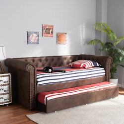 Mabelle Button-tufted Faux Leather Sofa Daybed Bed Frame With Pull-out Trundle