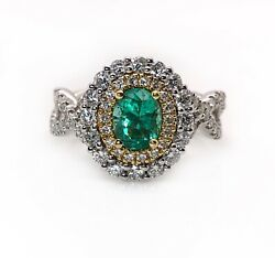 18k White Gold Natural Diamond And Emerald Double Halo Ring 1.50 Tcw Vs2g