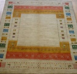 5' X 6'5 New Gabbehh Hand-knotted Tribal Wool Fine Oriental Rug Animals Goats