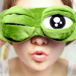 Travel Sleep Eye Mask 3D Sad Frog Shade Cover Sleeping Blindfold Rest Fun D